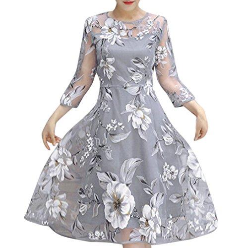 Hirolan Damen Organza Minirock,Bekleidung Frauen Sommerkleider Knielang Blumenkleid Tanzkleid Hochzeit Tunikakleid Party Unterkleid Ball Abendkleid Cocktailkleid (XL, Grau)