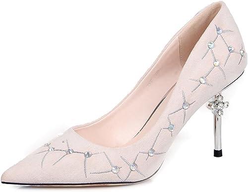 Sandales Feifei Chaussures pour Femmes été Haute qualité matériel Mode Vintage pointé Chaussures à Talons Hauts 2 Couleur en Option (avec Haute  9cm) (Couleur   02, Taille   EU36 UK4 CN36)