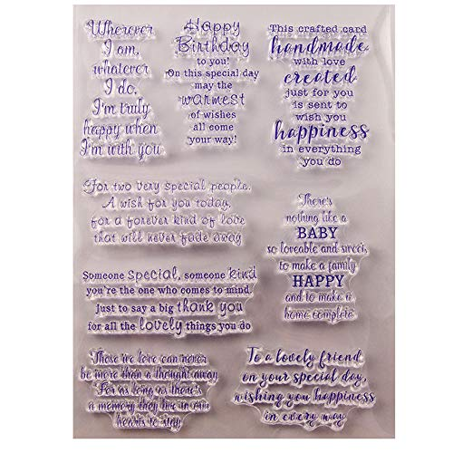 Sentiment Thinking of You Sending Birthday Hugs Clear Stamps for Cards Making Decoration and Scrapbooking Rubber Stamps for Craft