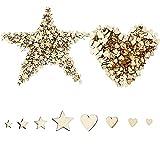 hocadon 400 Piezas Estrella/Corazón de Madera Adornos, Rebanadas de Madera Estrella/Corazón, para Manualidades de Decoración Accesorios de Navidad, 4 Tamaños Mezclados