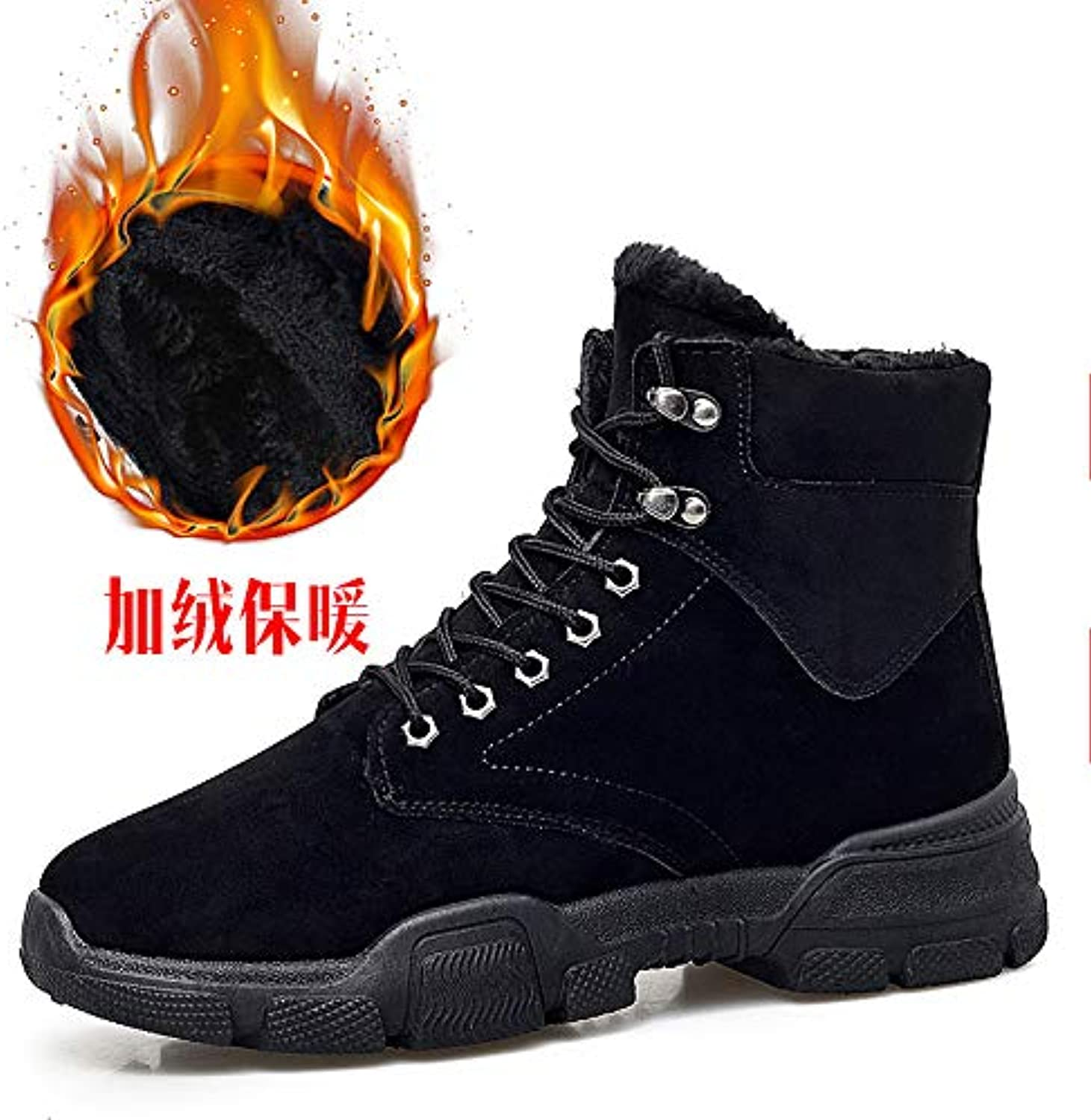 LOVDRAM Boots Men's Winter Men'S Boots Warm Military Boots Fashion Men'S shoes Fashion Leather Boots High To Help Casual Thick Men'S Martin Boots
