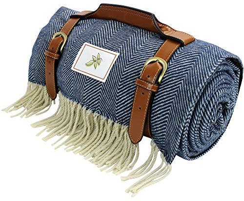 Good Gain Premium Wolle Picknickdecke mit wasserdichter Unterlage und PU-Griff, Extra Groß 150 x 200cm, Decke für Camping, Familienwandern, Waschbar und Faltbare Strandmatte im Winterurlaub, Blau