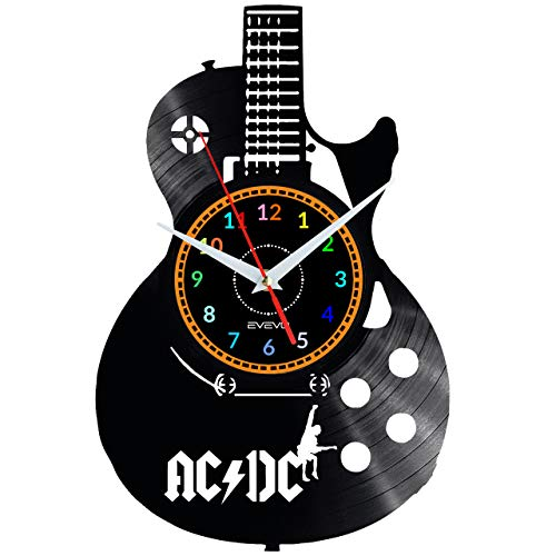 EVEVO ACDC AC-DC Wanduhr Vinyl Schallplatte Retro-Uhr Handgefertigt Vintage-Geschenk Style Raum Home Dekorationen Tolles Geschenk Uhr ACDC