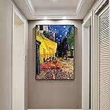 Pintura decorativa Cafe Terrace at Nigh por Van Gogh, pinturas al óleo impresas en lienzo, carteles artísticos e impresiones, cuadros artísticos famosos de Van Gogh, decoración del hogar 60x80cm