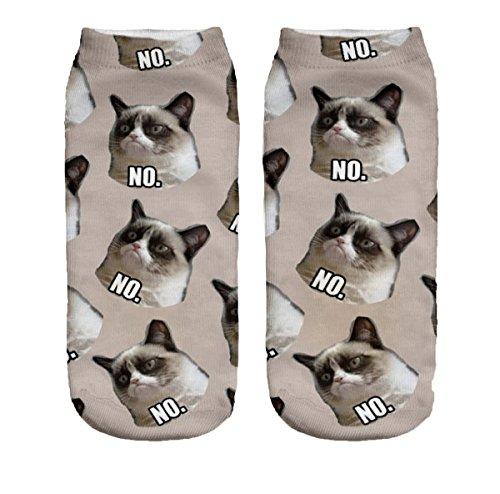 Ferocity Lustige Socken Sneaker Halbsocken Strümpfe Sportsocken Füßlinge mit Motiv 3D, Grumpy Cat, 36 - 40