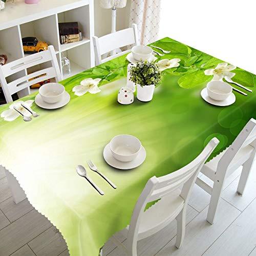 XXDD Mantel Pastoral 3D Mantel Blanco con diseño de Gloria de la mañana, Mantel Rectangular Impermeable Lavable A5 140x140cm