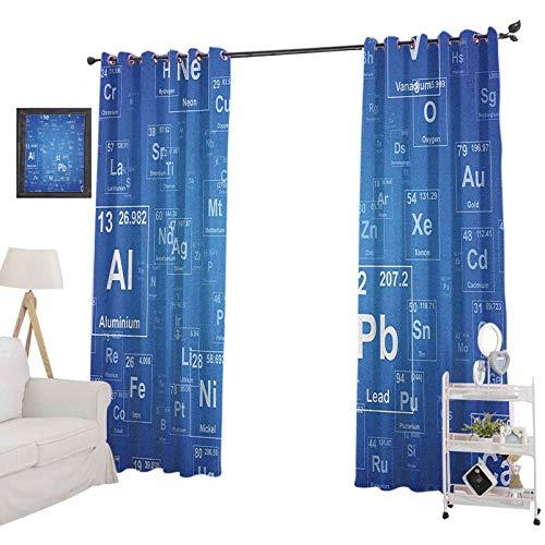 YUAZHOQI Science - Cortinas opacas para dormitorio, química, TV, con elementos periódicos, diseño de mesa, impermeable, 132 x 182 cm, color azul y blanco