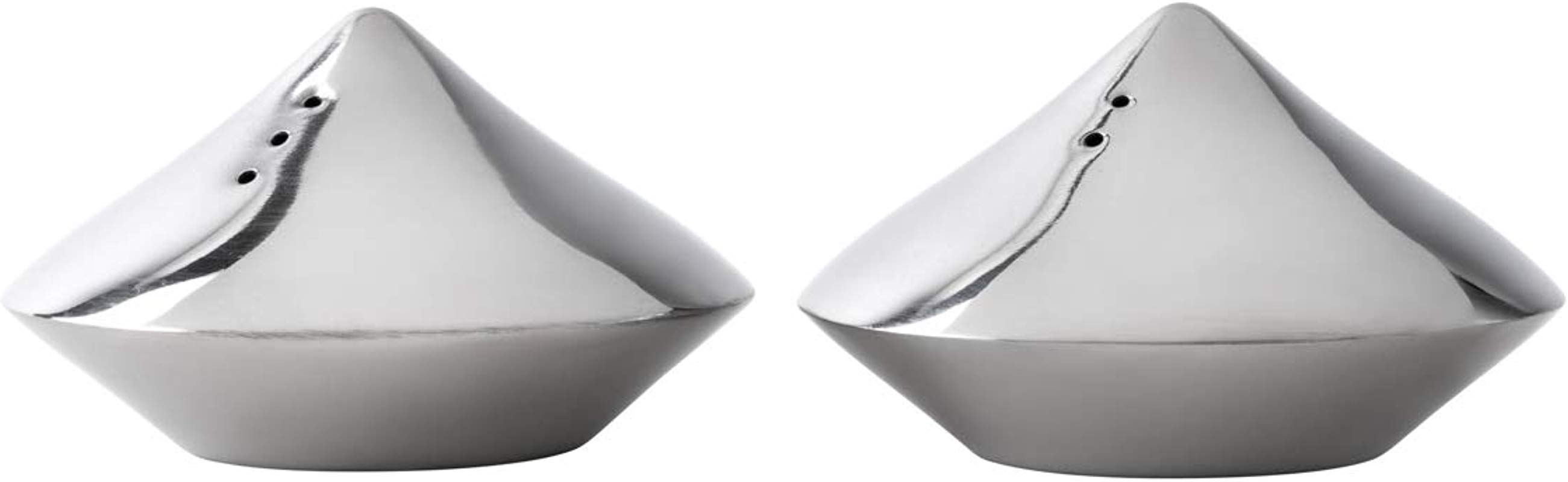 A La Mode ALM 666 Stainless Steel 2 3 4 X 1 3 4 Salt Pepper Shakers Pyramide Design Condiment Shaker Set