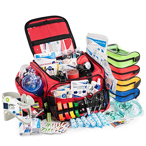 Scherber First Responder Bag | Fully-Stocked Professional Advanced EMT/EMS Trauma Kit | Reflective Bag w/10+ Compartments, Zippered Pockets, Shoulder Strap & 250+ First Aid Supplies - Red