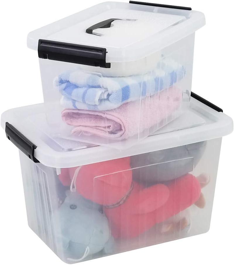 Yubine Clear Plastic Storage Bins, Latching Box with Lid, Handles (12 Quart &6 Quart)