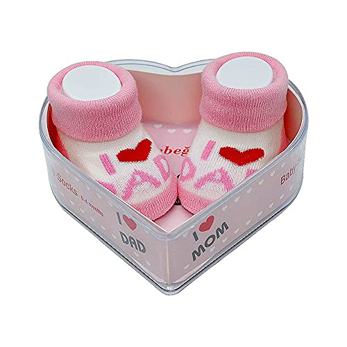 Neugeborene Babysocken 0-4 Monate Baby-Mädchen | Perfekter Geschenk für Neugeborene Babys & Babyshowers | schadstoffgeprüft OEKO-TEX® (Rosa - I Love You Dad & Dad)