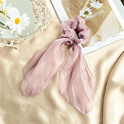 AQUALITYS Cinta de Pelo Largo con Estampado Floral de Lunares a la Moda para Mujer, Bufanda de Cola de Caballo, Bandas elásticas Dulces para el Cabello, Accesorios para el Cabello