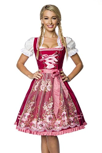 Dirndline - Vestido Dirndl - Cóctel - para Mujer Rosa y Rojo XXL