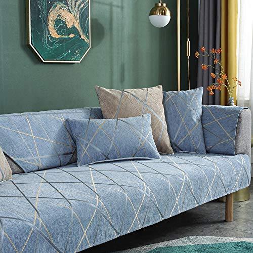 YUTJK Chenille Geometric Line, Für Haustiere Couch Sofa Überwürfe, Anti-rutsch Übergroßen Spitze Couch Sofa Überwürfe Couch-Shield, Sofaschoner, verkauft in stück, Hellblau