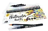 24 bolígrafos de acuarela + 1 pincel de agua para mezclar, de nailon real a base de agua, para pintar dibujos, todos los artistas y principiantes.