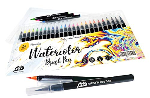 Artist's Toy Box - Watercolor Brush Pens and Blending Brush Tip Pen Set – 24 Water Based Pre-Filled Colors Brush Markers for Drawing Lettering Coloring – Water Color Brush Pens for All