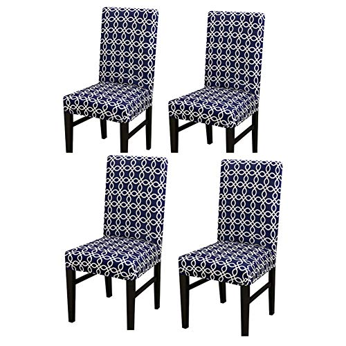 TTinah Dining Chair Slipcovers One-piece Elastic Chair Cover Four Seasons Dining Chair Cover Anti-fouling Household Chair Cover Set of 4,navy blue