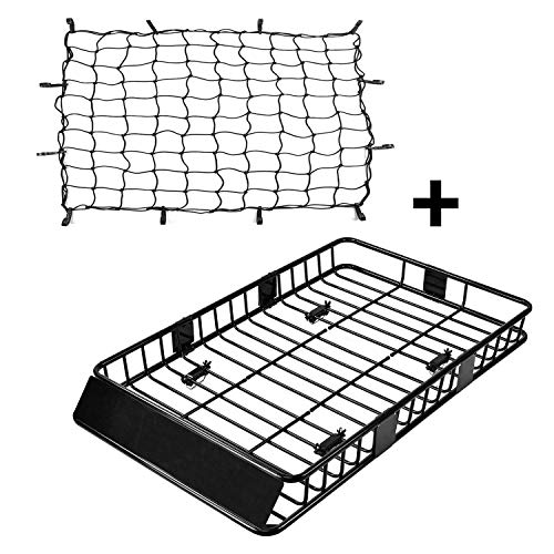 CAR DRESS Roof Cargo Basket 64'' with Cargo Net 3' x 4' Stretches to 6'x 8' Bungee Net