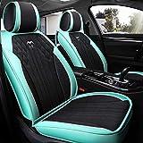 N\A Car Seat Cover Set Completo Respirable estupendo de Seda de Hielo y Universal de Piel Resistente al Desgaste Compatible La mayoría de 5 Asientos de Coches (Color : Emerald Green)