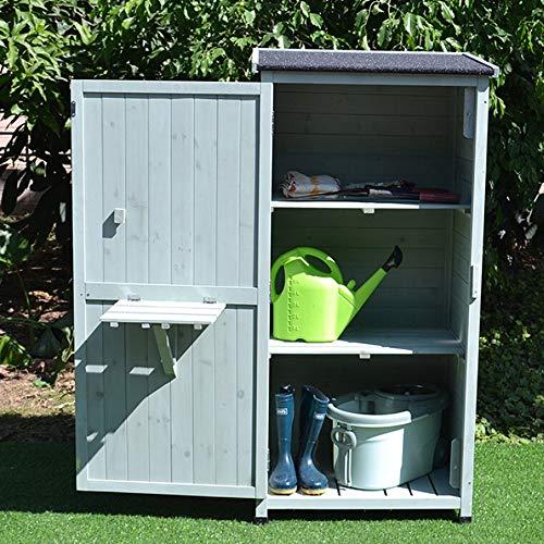 51nmEmmAMvL - Zengqhui Outdoor-Holzwerkzeugschrank Lagerhalle 3-Tier Abnehmbarer Regal for Balkon Garten Terrasse Ideale Aufbewahrungsbox für den Außenbereich (Farbe : Grün, Size : Full-Layer Board.)