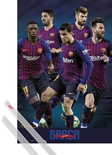 1art1 Fútbol Póster (91x61 cm) FC Barcelona 2018/2019 Grupo Y 1 Lote...