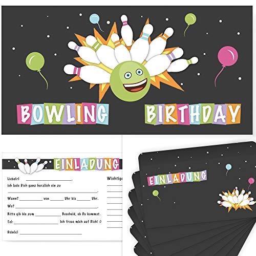 Postkartenschmiede 12 Bowling Einladungskarten Geburtstag Kinder Jungen | Kegeln Einladung | Geburtstagseinladungen Junge | Kegel-Einladungen | Mitgebsel Kegel-Party | Bowlingparty