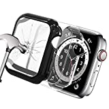 Yolovie (2 Pack) Tempered Glass Screen Protector Case Compatible for Apple Watch 40mm, Waterproof Soft TPU Cases HD Clear Protective Film Cover Accessoriesfor iwatch Series 6/5/4/SE 40mm- Clear/Black