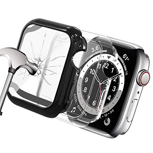 Yolovie (2 Piezas Compatible para Apple Watch 40mm Case SE Series 6/5/4, TPU Suave Impermeable con Accesorios HD para películas endurecidas para iwatch Man (40mm Negro/Transparente)
