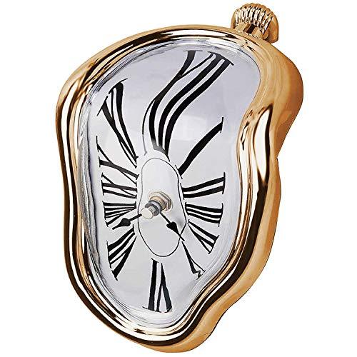 Cobeky - Reloj de fundición con forma de bloque, reloj fundido para decoración en el hogar, oficina, mesa de escritorio, regalo divertido, dorado