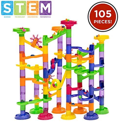 Best Choice Products 105-Piece Kids Transparent Plastic Marble Run Coaster Track for STEM, Learning, Education
