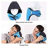 QINYONGFENG 6-in-1 Neck Pillow Long Haul Astronaut Memory Foam Travel with Detachable Hood Adjustable Neck Size Side Elastic