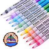 TWOHANDS Acrylic Paint Marker Pens,12 Assorted Colors, Extra-Fine Tip, Warter Based, Great