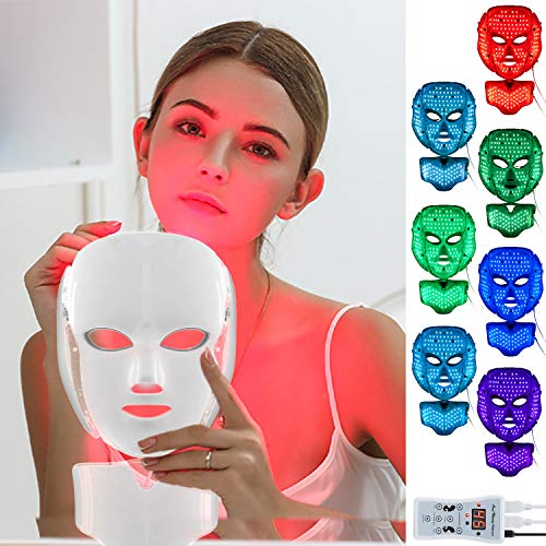 top 10 dermashine and project e LED face mask with 7-color face mask Proven phototherapy acne photon mask (white)