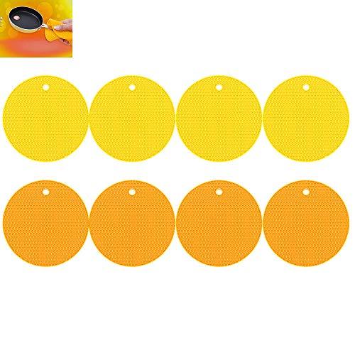 ShawFly Silikon Tischmatte , 18 cm Hot Pads, hitzebeständige Untersetzer, Cup Isoliermatte, Geschirr Isolierpad Topflappen, rutschfeste Matte (10 Stück) (Orange-Gelb)