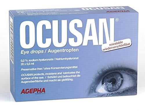 OCUSAN Gotas Hidratantes para Ojos Secos | Dosis Individual Solución sin Conservante | Lubricante Ocular con Ácido Hialurónico | Ojos Rojos | Lágrima Artificiales | Adecuado para Lentes de Contacto