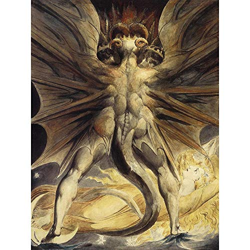 Wee Blue Coo William Blake Red Dragon Woman Clothed Sun 1805 Old Painting Art Print Poster Wall Decor 12X16 Inch