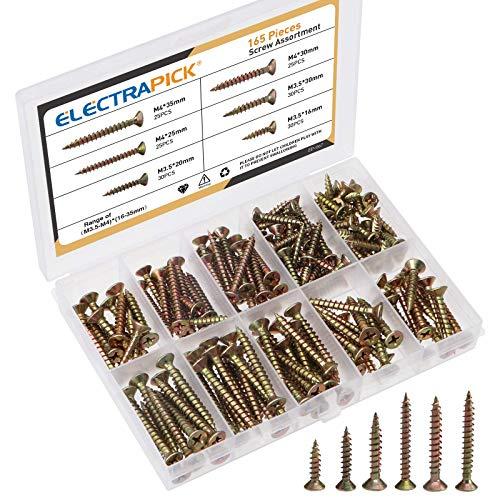 electrapick 165 pièces Vis à bois zingué Vis à tête fraisée Phillips - filetage total - 3.5mm 4mm