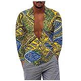D-Rings Camisa de verano para hombre, estilo casual, manga larga, de algodón y lino, camisa de manga larga, camisa de lino regular, amarillo, XXXL