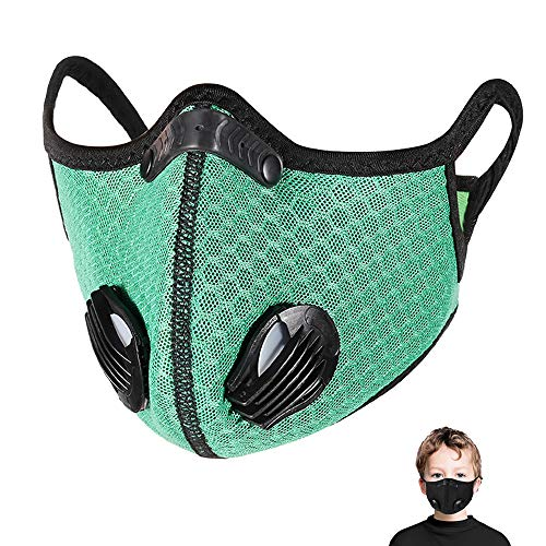 PIPIDREAM Outdoor Dustproof Sport Mask for Kids Reusable Breathing Face Mask Ear Loop Windproof Mask with 5 Layers Activated Carbon Filter Boy Girl Mesh Mask, Green