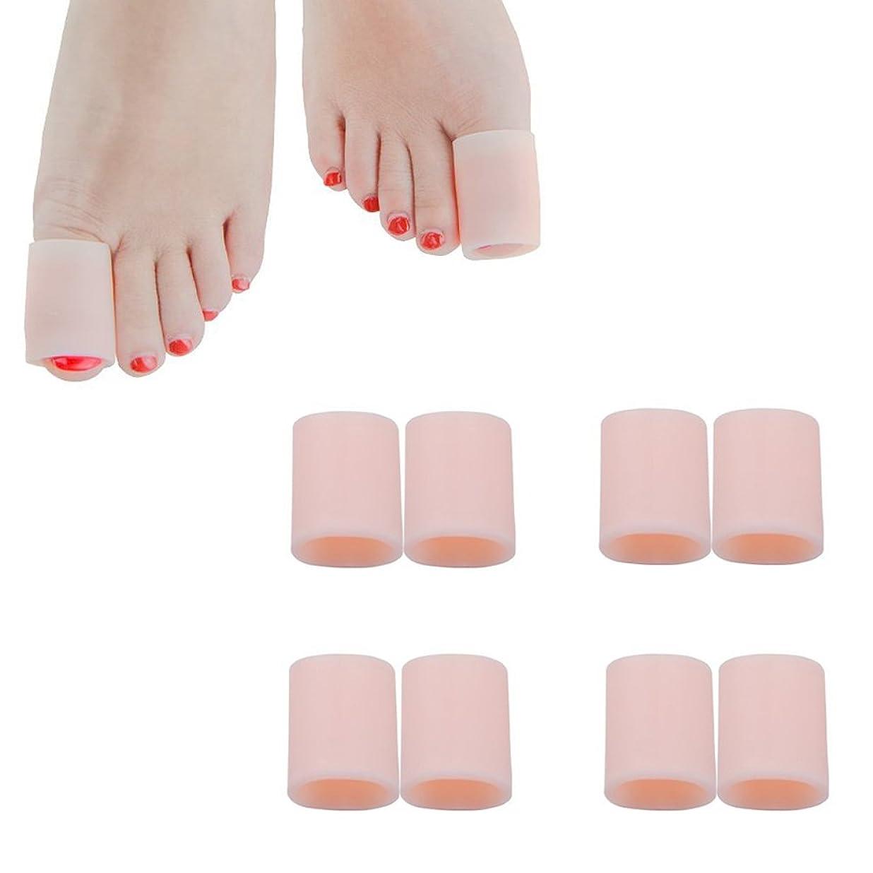 祝福する億予測する足指保護キャップ つま先プロテクター 足先のつめ保護キャップ シリコン (肌の色, 4組の大きなゲル)