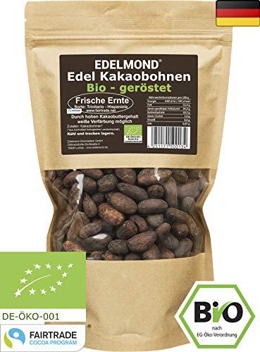 Edelmond geröstete Kakaobohnen FAIR TRADE. Bio und frische Röstung. 1 A Edelkakao Nibs Qualität 500g