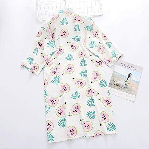 Home + Bathrobe Nachthemd Bademäntel Frühling Und Sommer Baumwolle Guave Pyjama Damen Doppel Gaze Bademantel Dampfenden Hausdienst Bademantel @ Gaze Gown_M