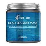 SWAN STAR Dead Sea Mud Mask For Face and Skin Care, Natural Facial Mask Peel Off for Acne, Oily Skin & Blackheads, Rejuvenated to Smooth & Moisturizing Skin for Men and Women