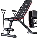 Workout Weight Bench, Feikuqi Adjustable Strength Training Benches for Home Gym Full Body Exercise, Folding Incline Bench Press with Resistance Bands