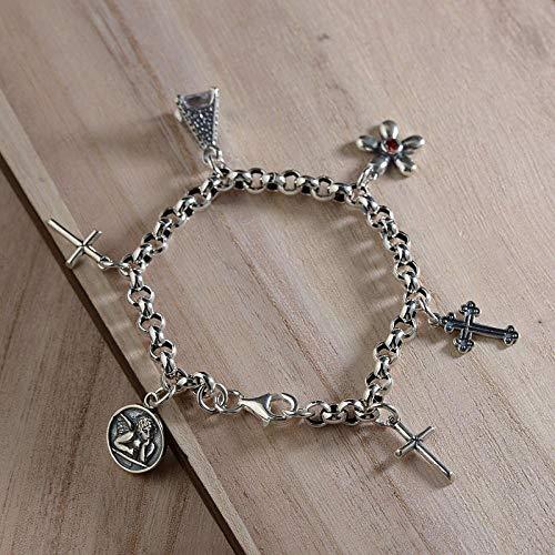 LLXXYY armband voor vrouwen 925 sterling zilver, Scandinavisch kruis hanger clip aan armbanden bedelarmband voor vrouwen mannen baby meisje manchet personaliseren sieraad