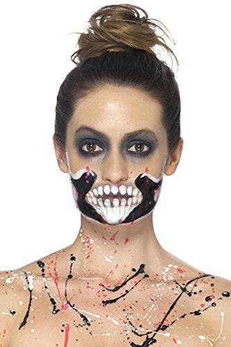 Smiffys 46224 - Skelett Make-Up Set, 4 Liquid Latex Töpfe und 4 Schaum Pinsel, bunt