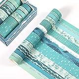 KNMY Washi Tape Set 12 rollos de cinta adhesiva decorativa colorida para scrapbooking, uso para diario, manualidades, decoración de regalo, suministros de arte para niños, verde