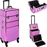 Ver Beauty Professional Rolling Makeup Case, Heavy Duty Makeup Artist Travel Case with 4 Extendable Trays, Magenta Glitter