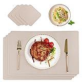 CHONLY Tischset Leder Platzset PU Kunstleder 4er Sets Abwischbare wasserdichte Platzdeckchen Lederoptik 45x30cm und Glasuntersetzer Beige Geschenke Kiste für Hause Küche Restaurant und Hotel