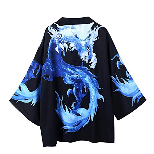 WYUKN Kimono tradicional, kimono japonés traje de hombre abrigo estilo Ukiyoe Tops Japón Haori Cardigan chino tradicional chaqueta suelta camisa Yukata abrigos, talla XL
